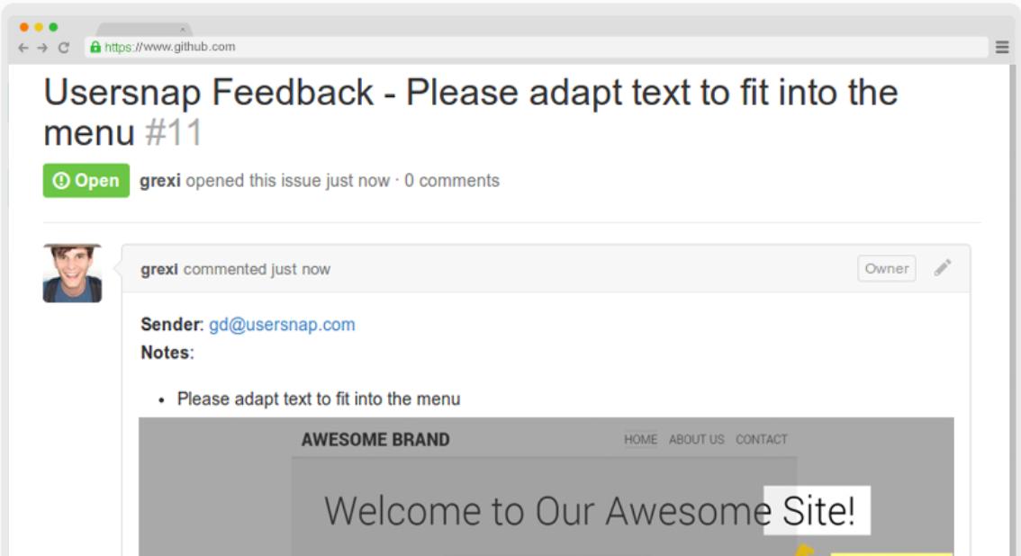 Usersnap and Github integrated