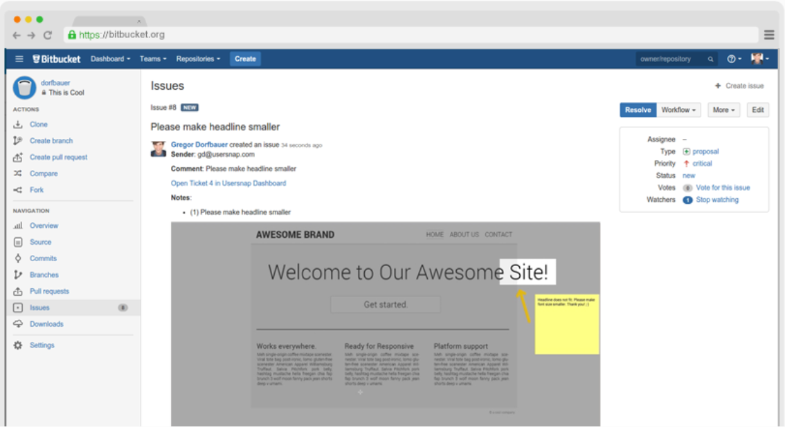 Bitbucket integrated with Usersnap