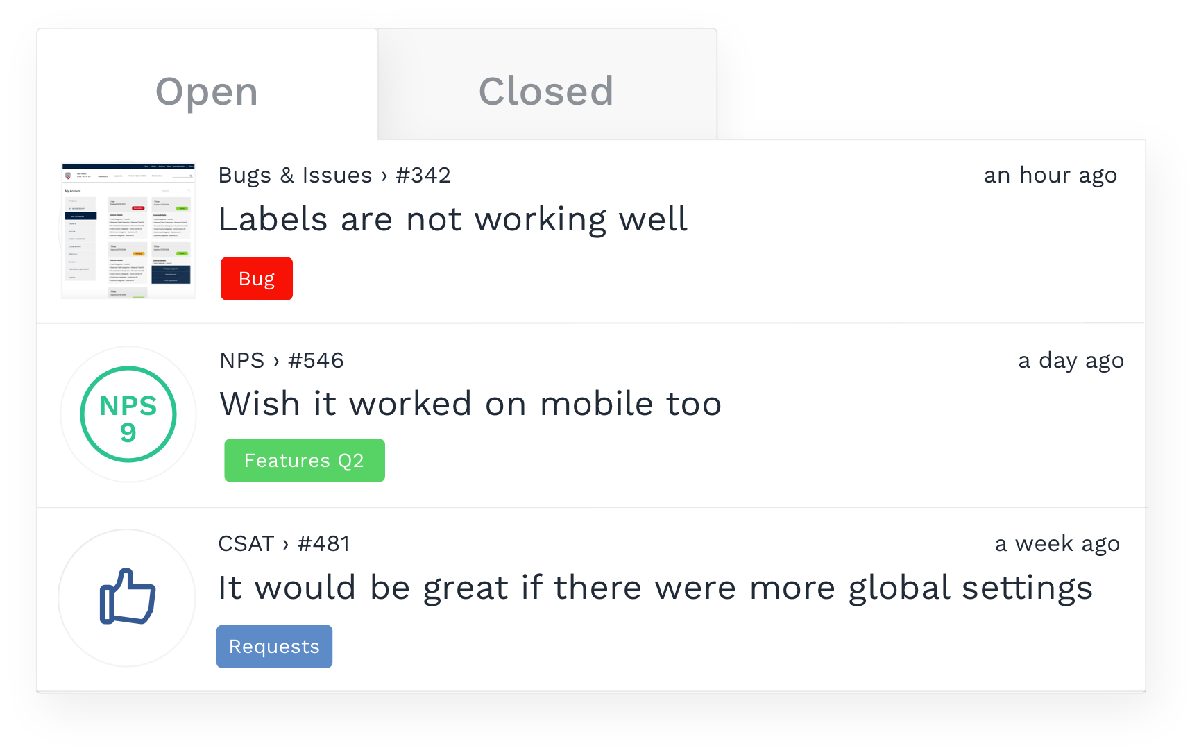 Inbox feature, labelling of feedback issues - Usersnap
