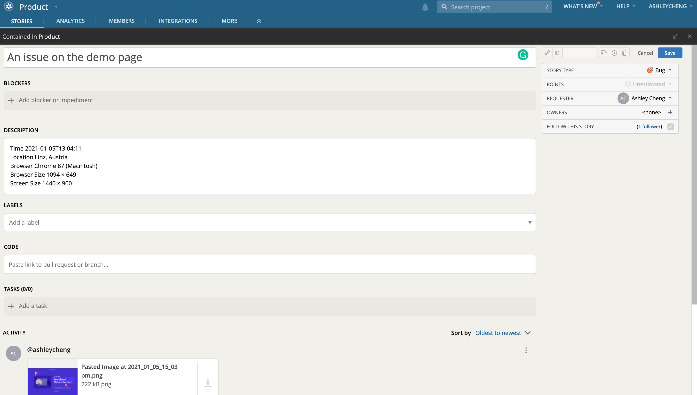 Pivotal Tracker + Usersnap integration