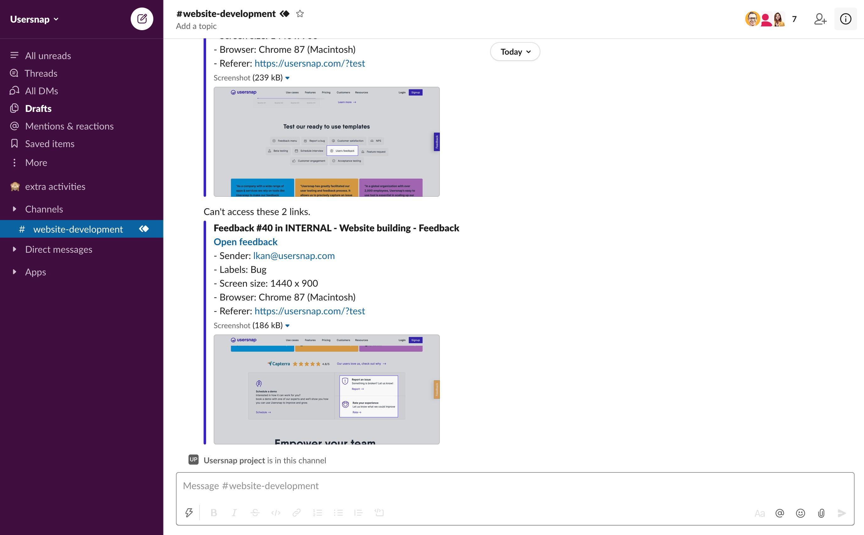 Usersnap feedbacks in Slack