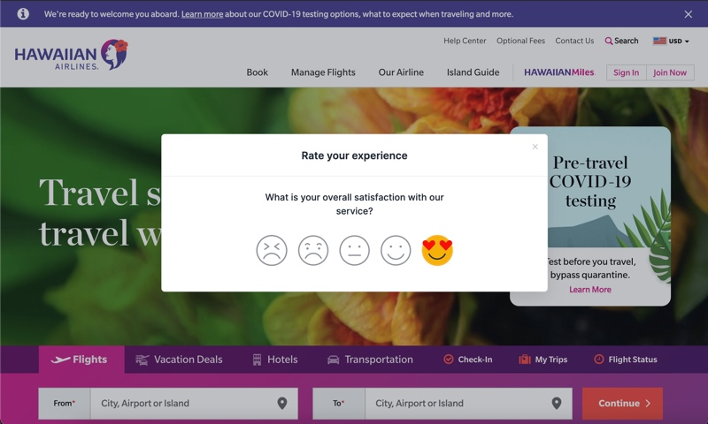 Screenshot Hawaiian airlines