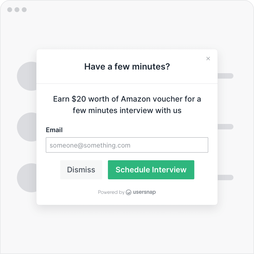 In-app and onsite customer feedback forms and pop-ups
