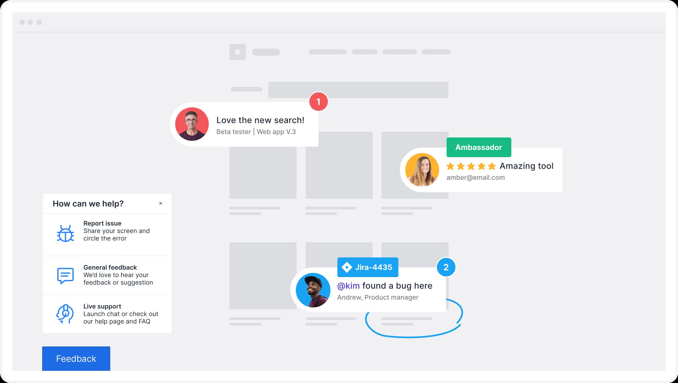 customer feedback on web application