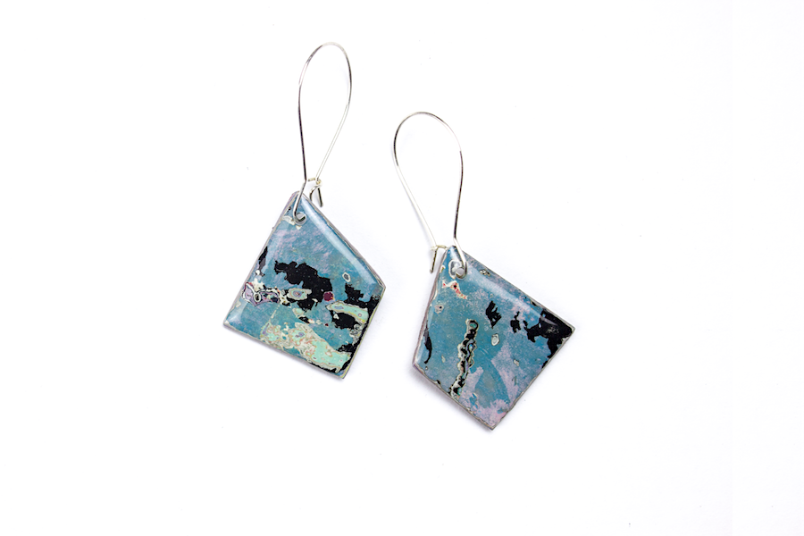 unique, double sided graffiti statement earrings