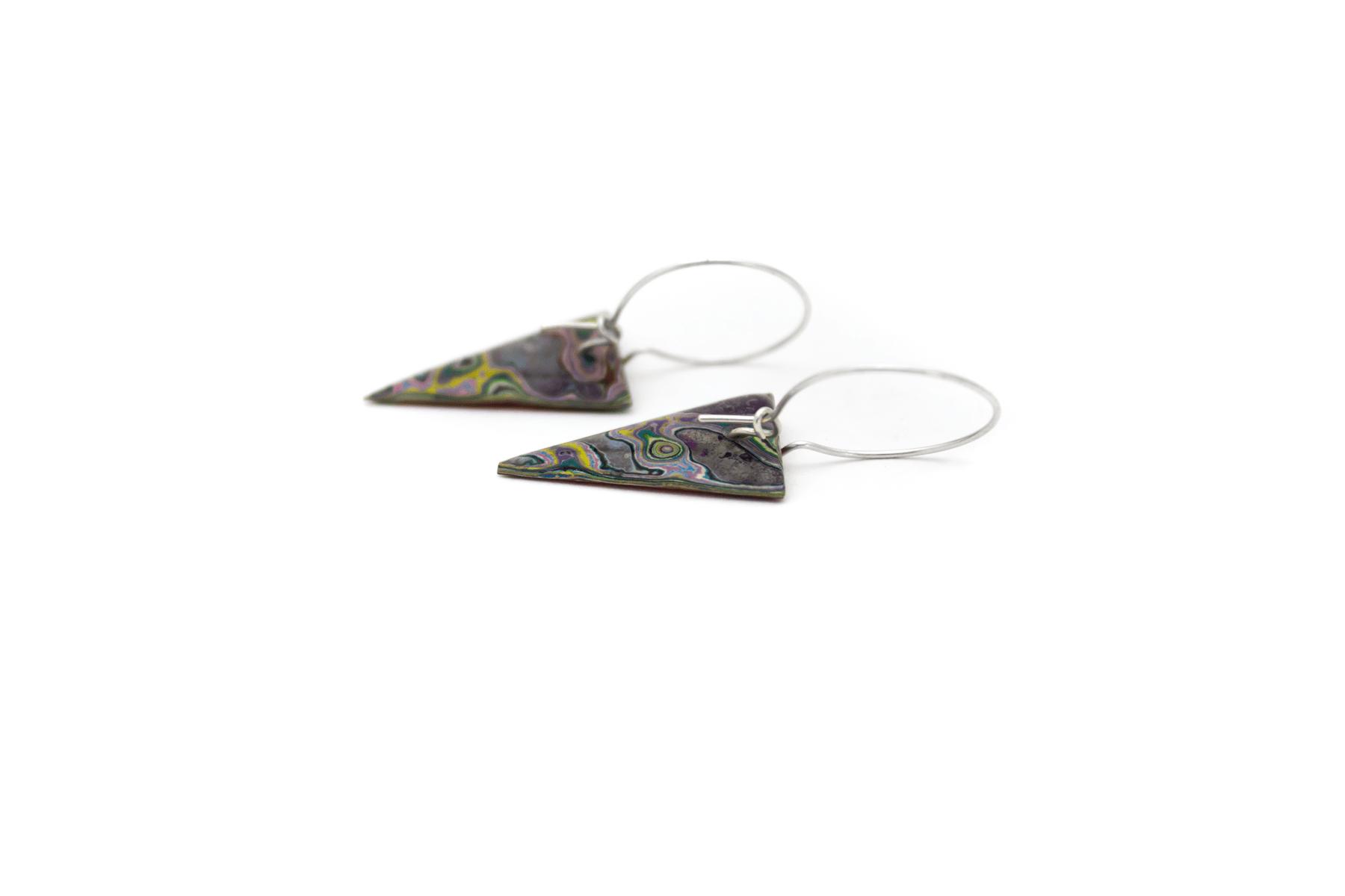 Unique, double-sided graffiti earrings