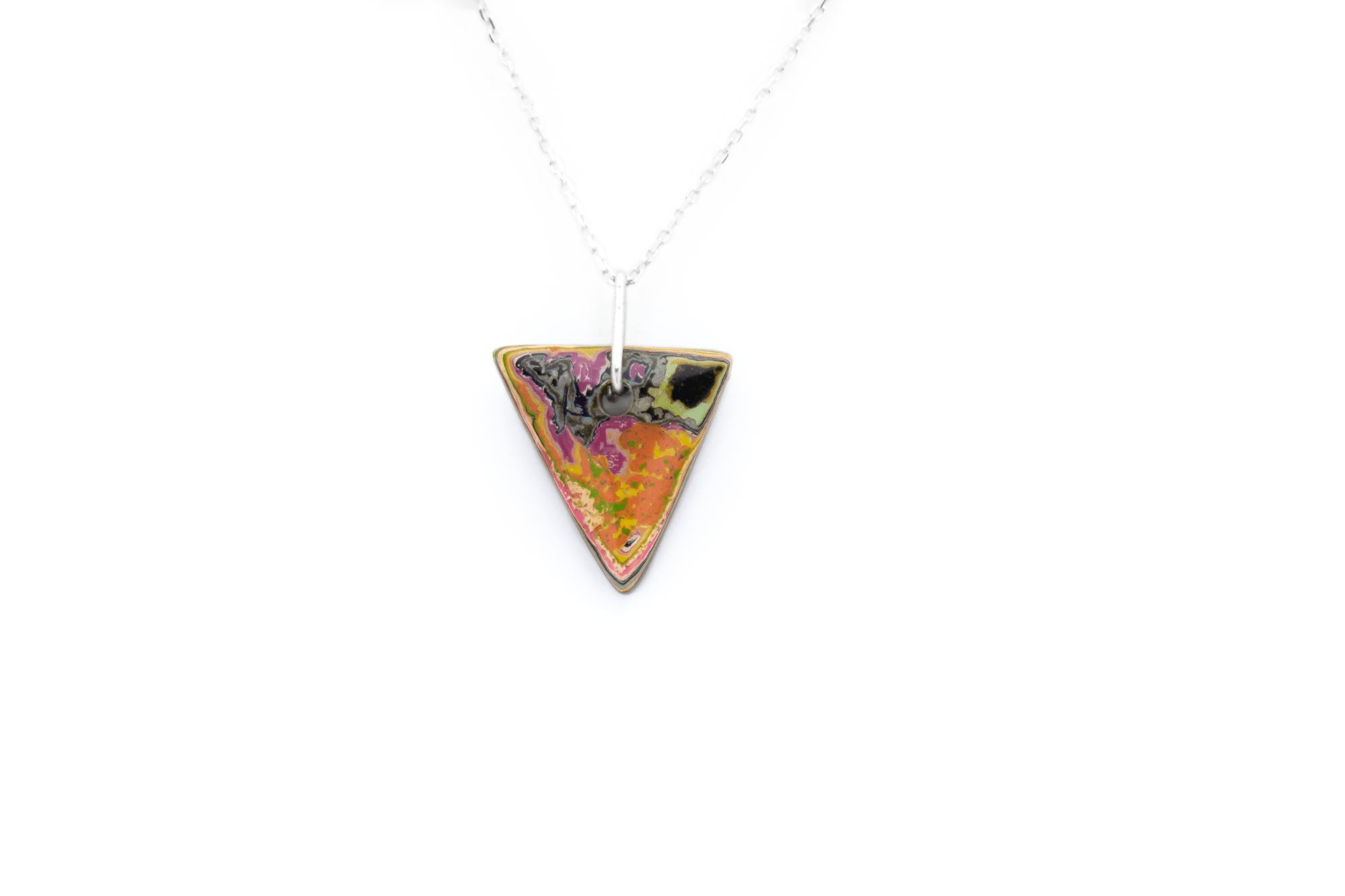 Unique graffiti stone pendant necklace.