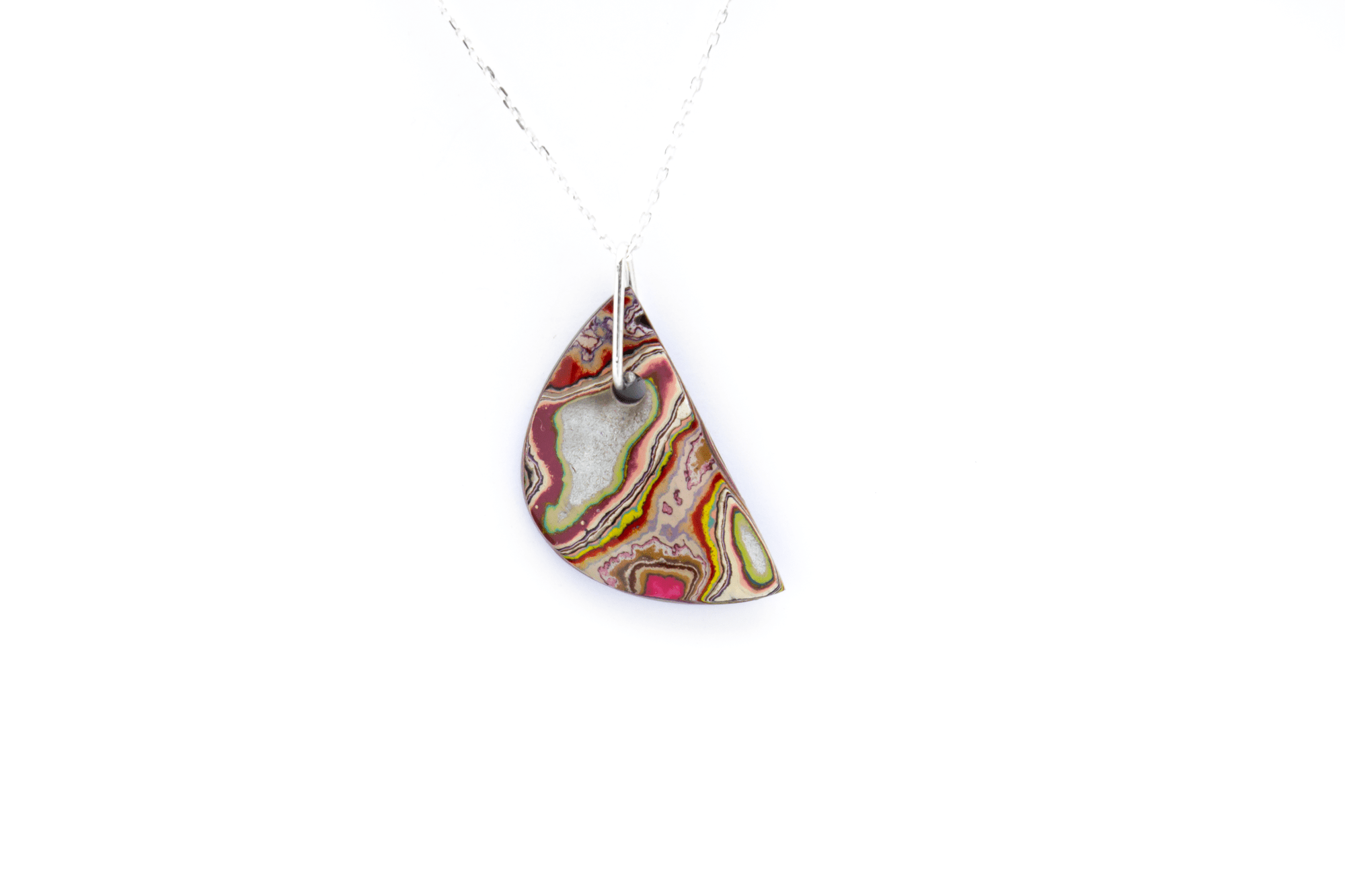 Unique graffiti stone pendant necklace.