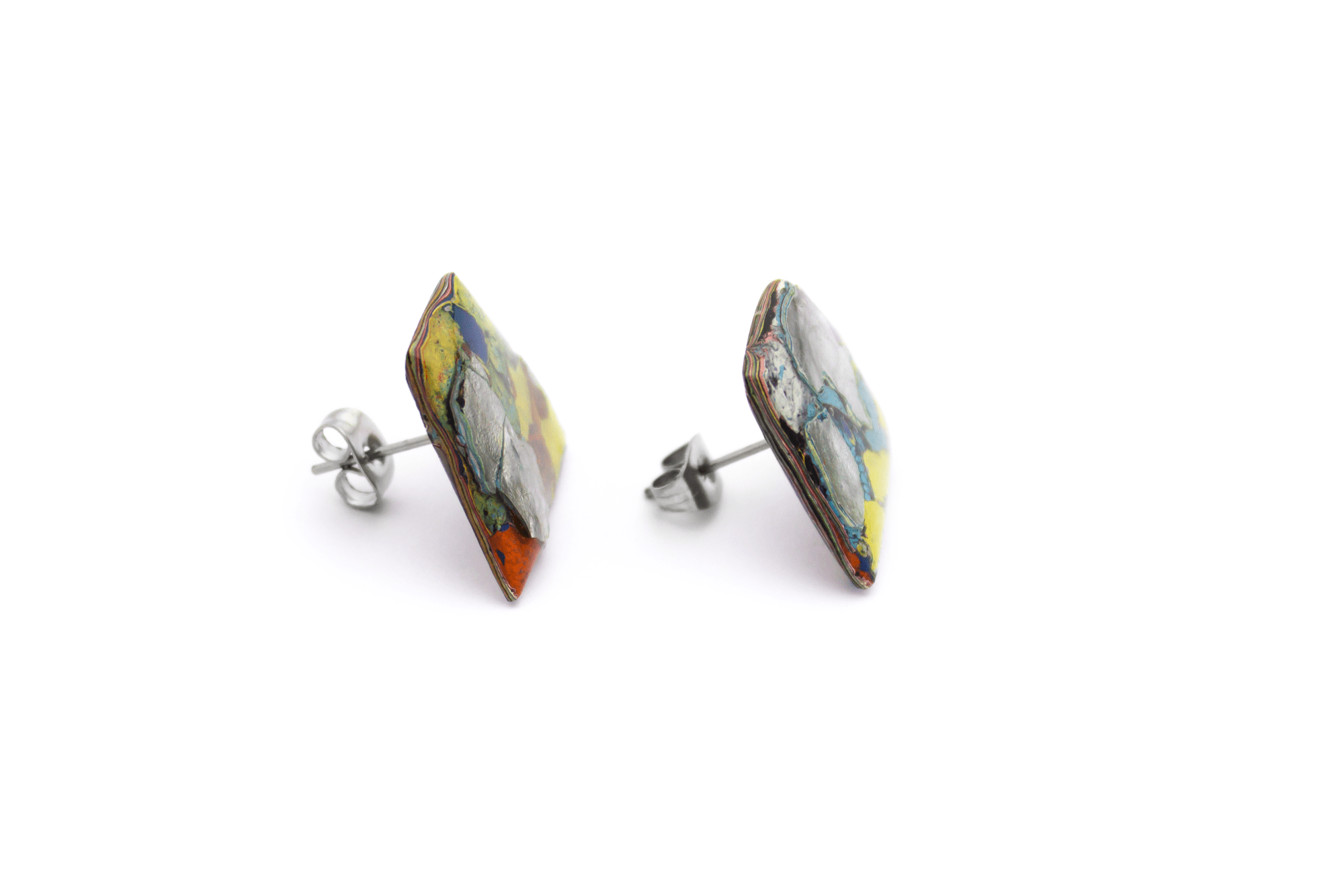 Unique graffiti stud - back earrings. One-of-a-kind and handmade in Melbourne from locally sourced, recycled materials.