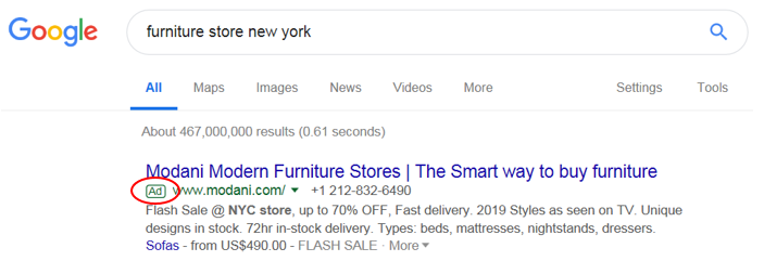 example of a Google text ad for a furniture store in New York Modani