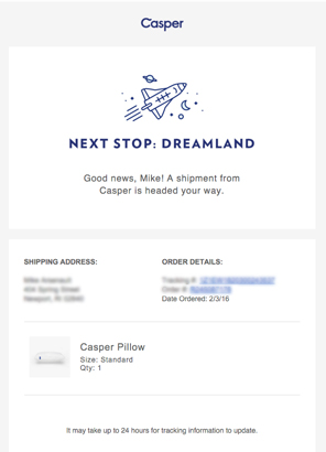 casper purchase receipt order confirmation email brand strategy