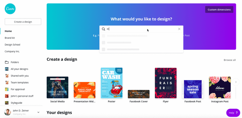 canva graphic design software marketing features