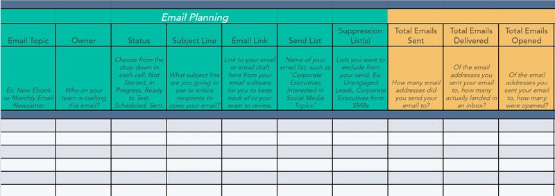 email marketing template plan