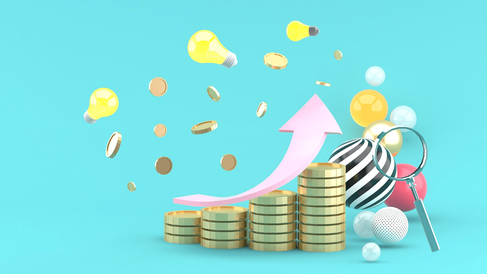 Illustration with 3d render of arrow