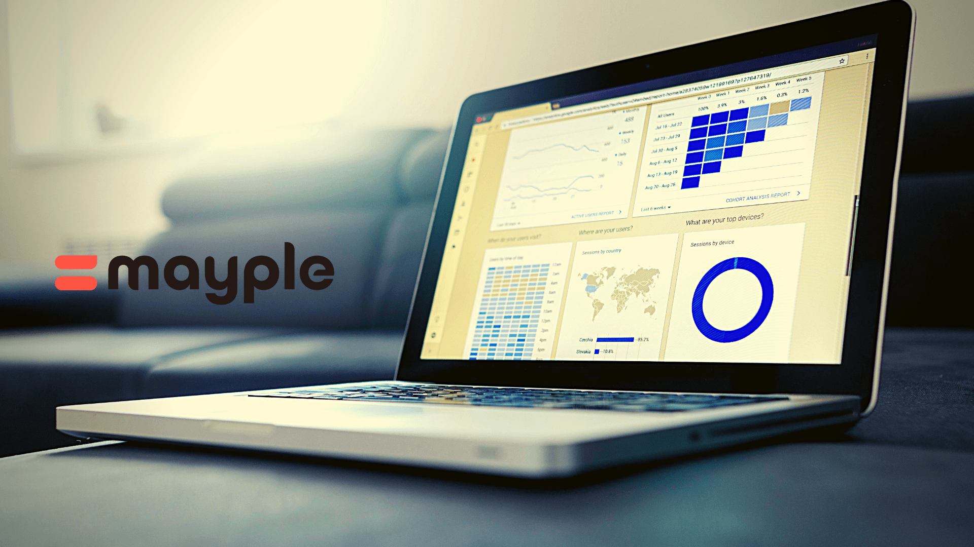 Marketing data on a laptop