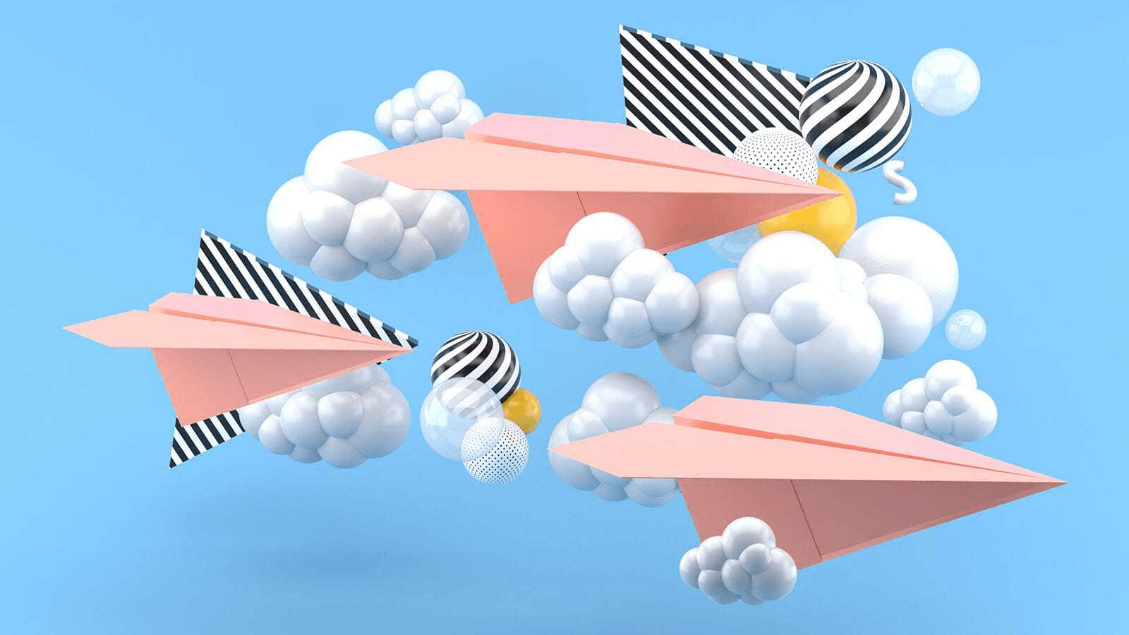 flying pink email paper planes