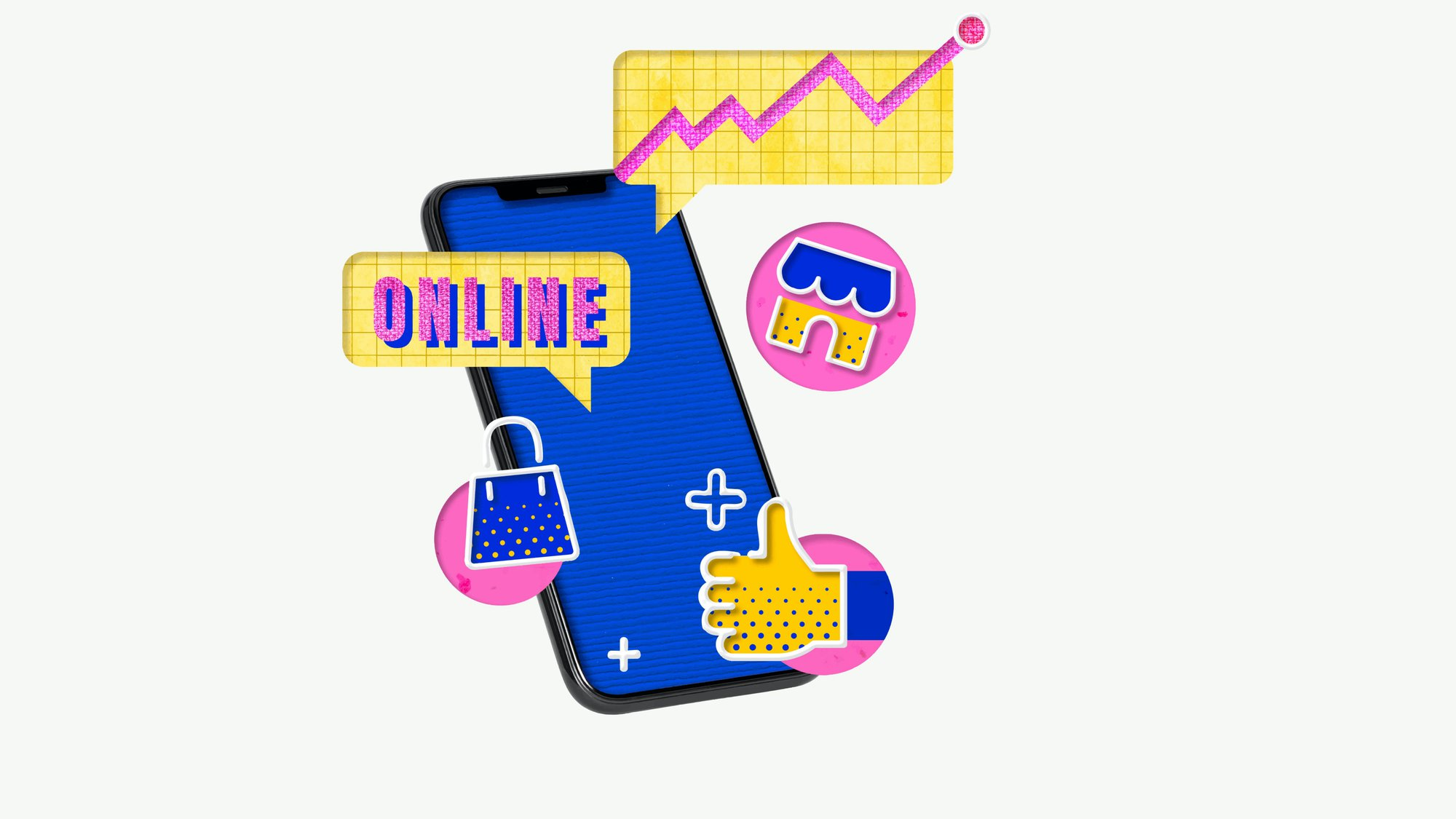 online shopping ecommerce icons on a mobile device