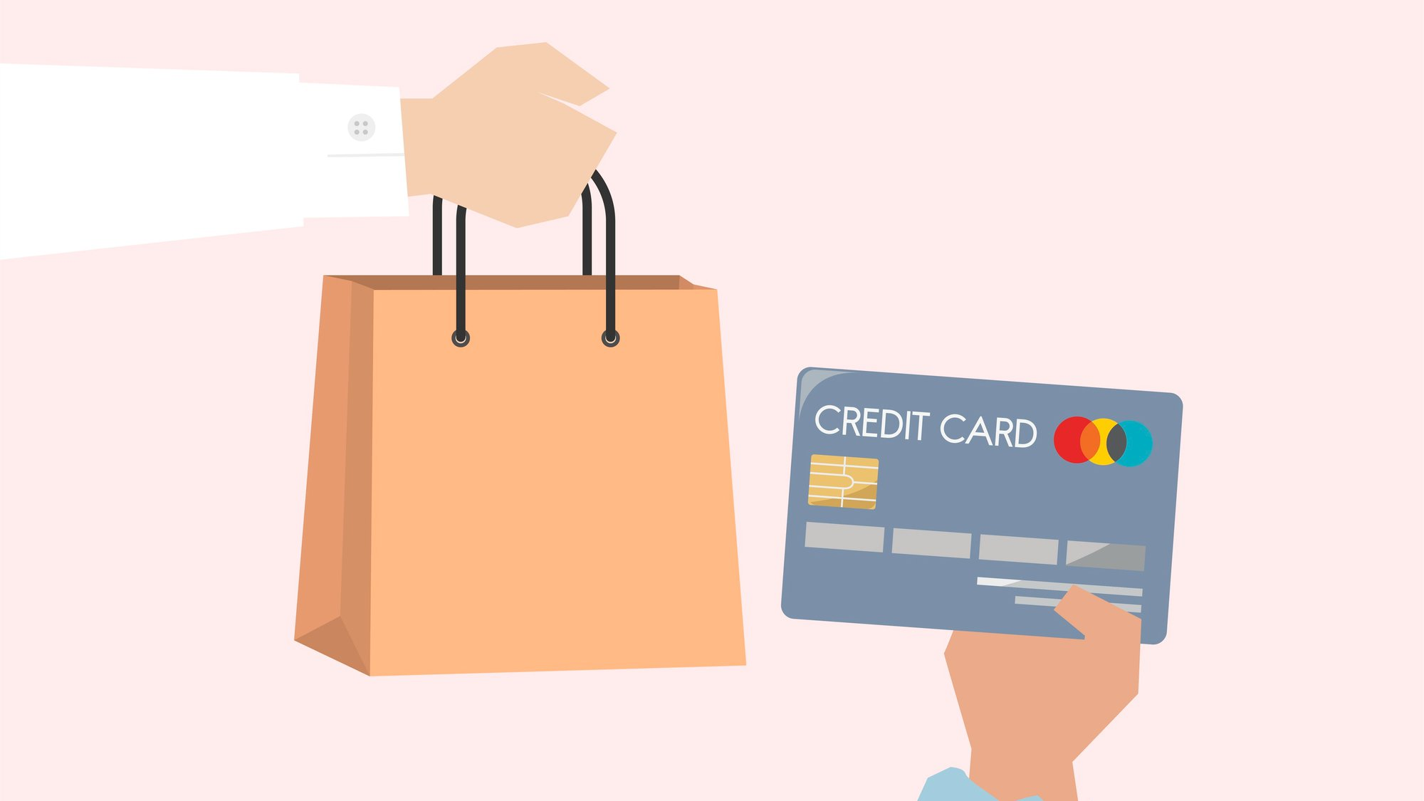ecommerce shopper buying with a credit card illustration