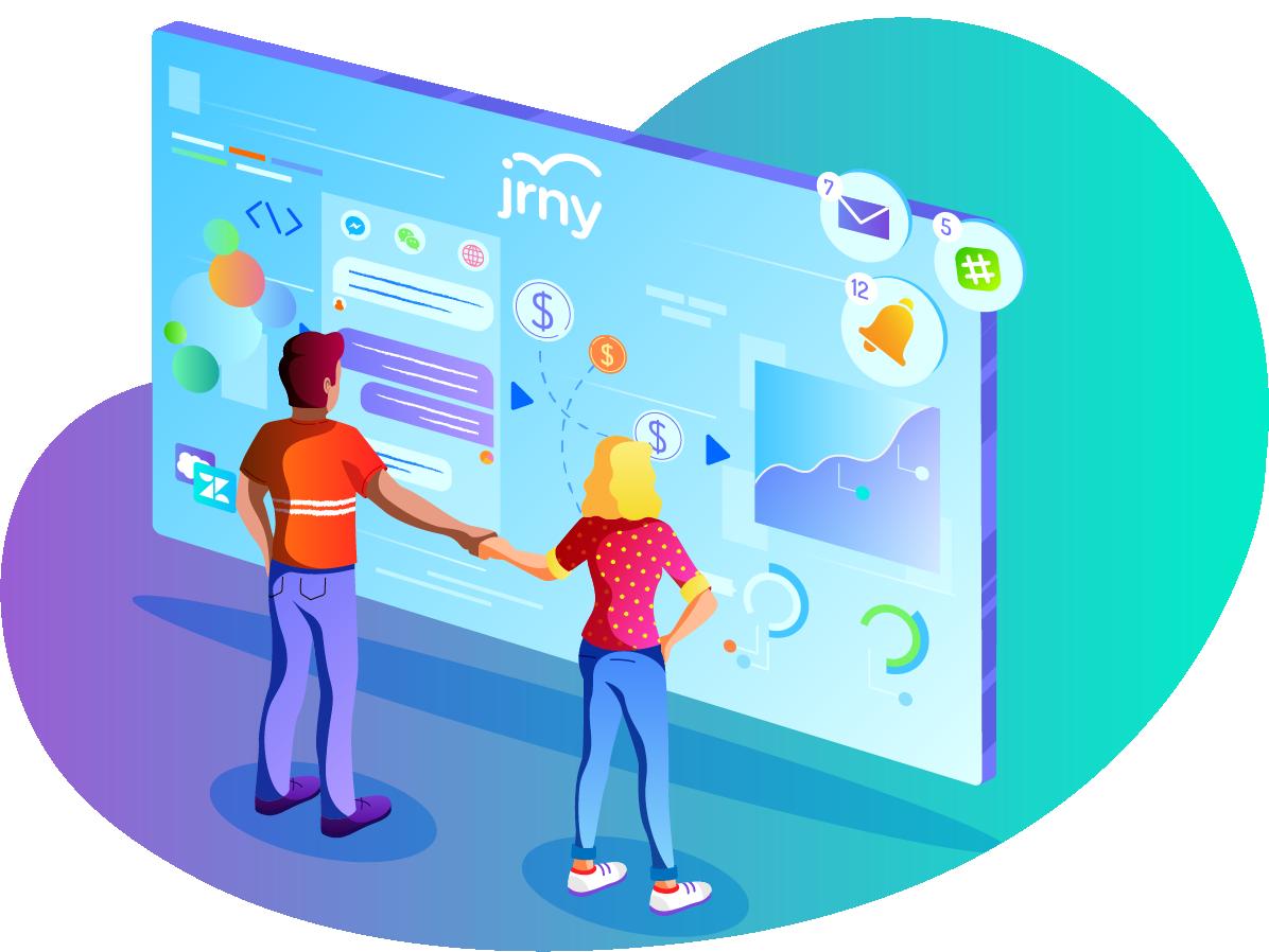 JRNY integrates with Slack, Facebook Messenger, HubSpot, more