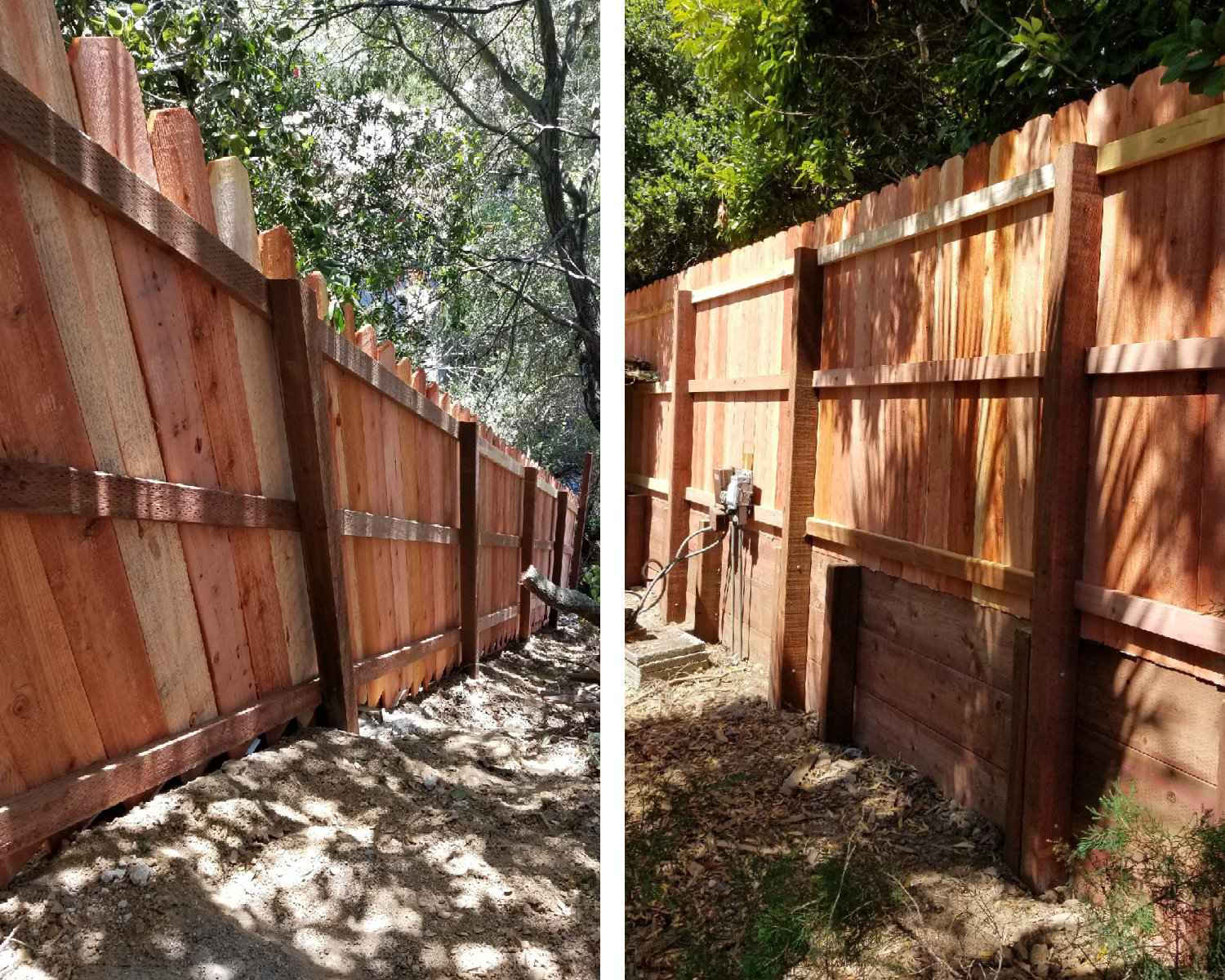 oakland-ca-nail-up-side-by-side-dog-ear-with-3-rails-and-nail-up-side-by-side-dog-ear-with-an-integrated-3-tall-retaining-wall