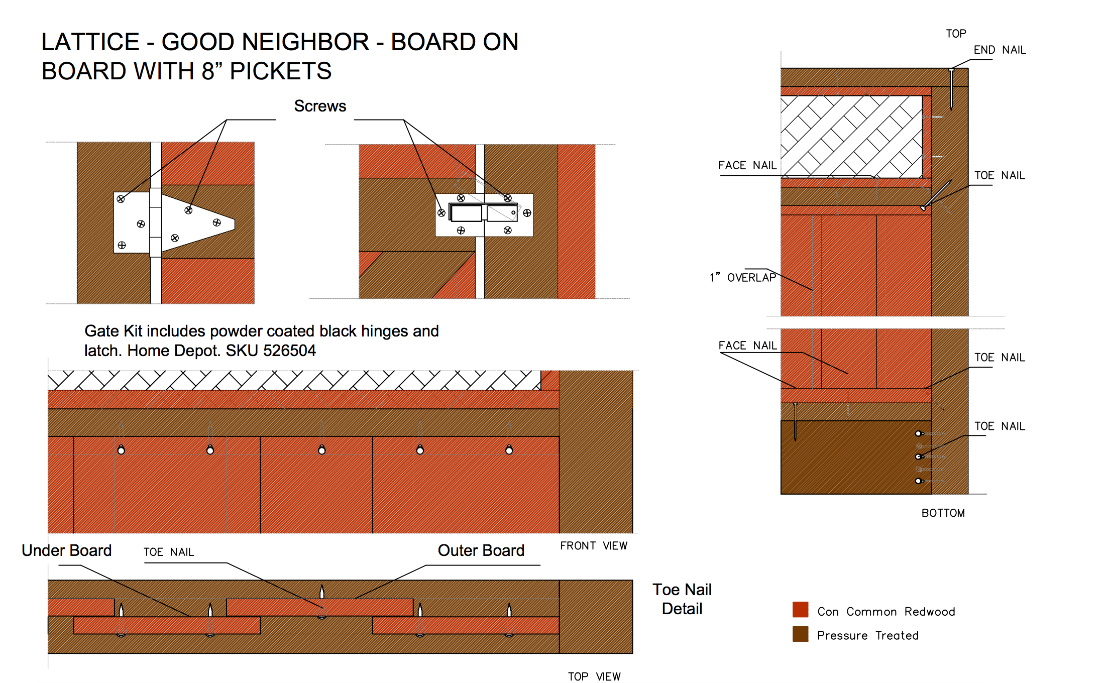 """Lattice - good neighbour - board on board with 8"""" pickets"""