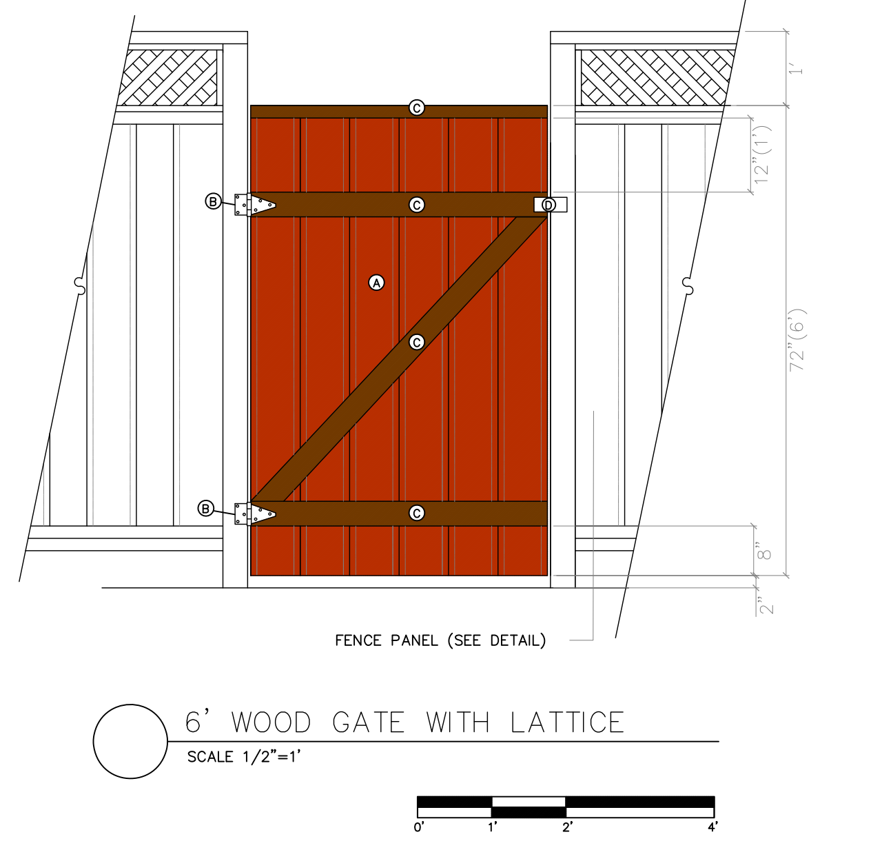 6' wood gate with lattice