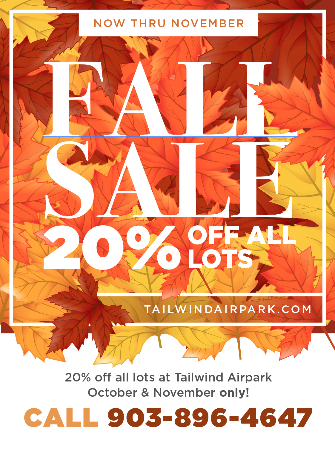 Up to 20% off all lots - Oct & Nov only!