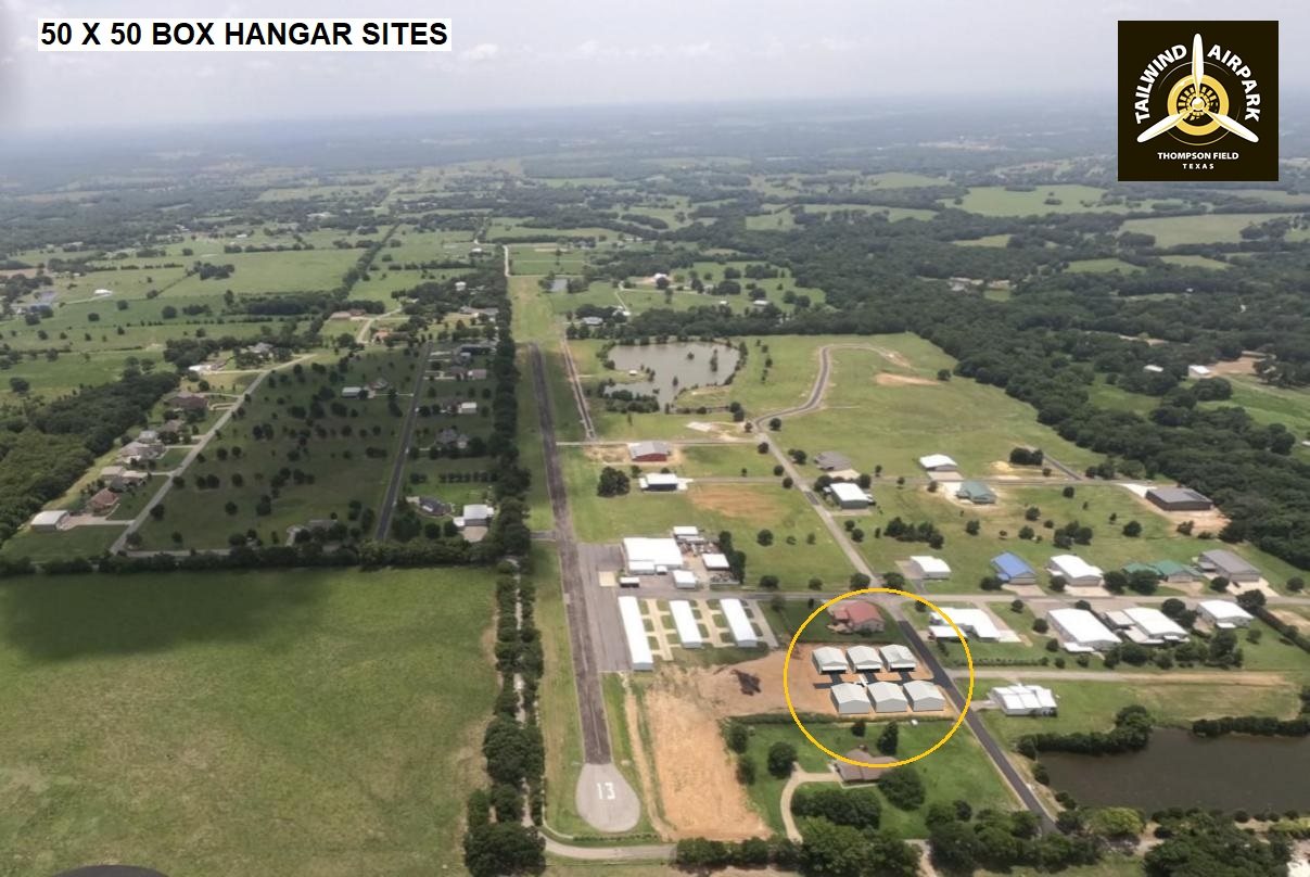 Aerial photo of Tailwind Airpark showing the hangar sites now available