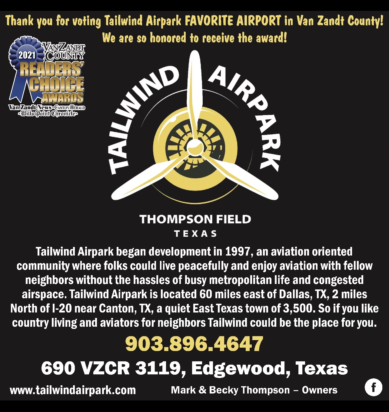 """Named """"Best Airport"""" at the 2021 Readers' Choice Awards"""