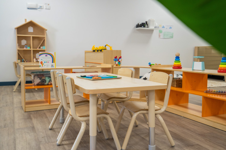 A kids table in a kindergarten classroom