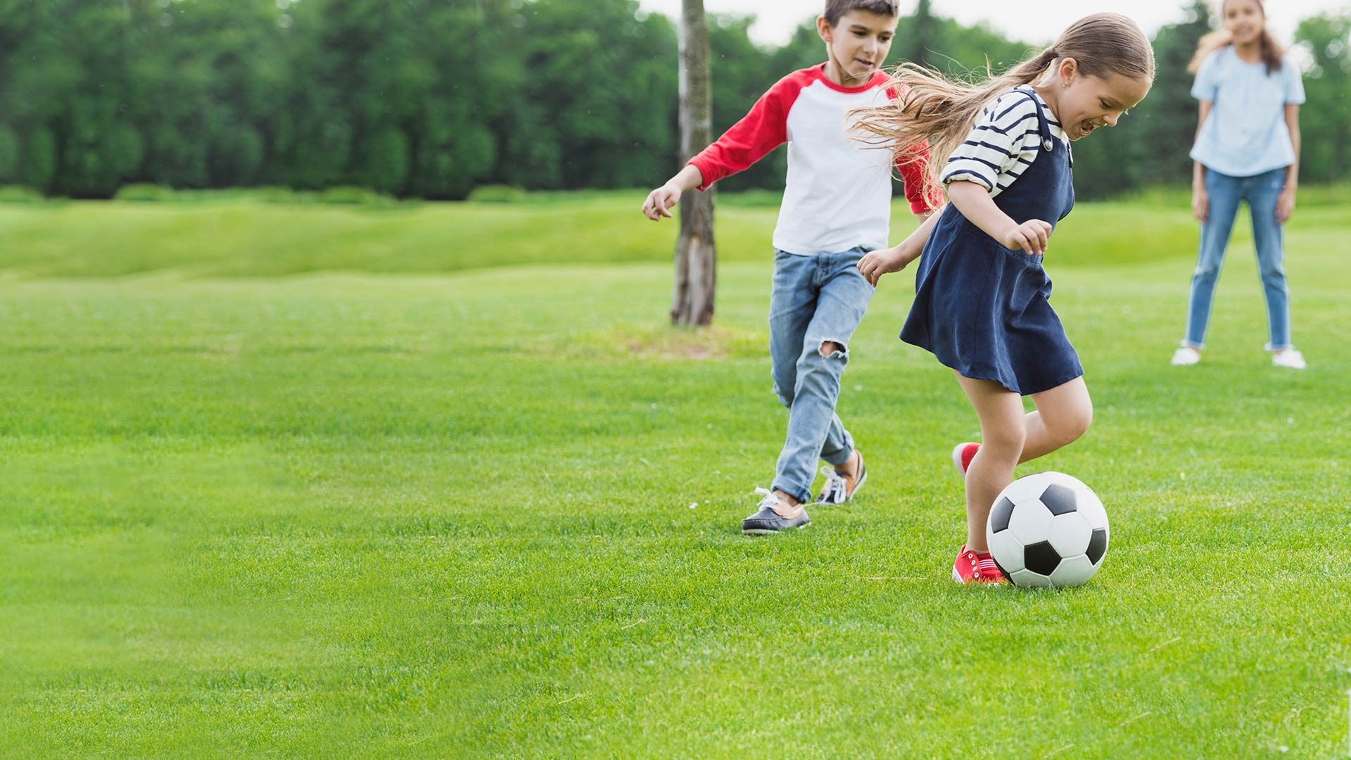 Sports Banner Kids Playing Soccer