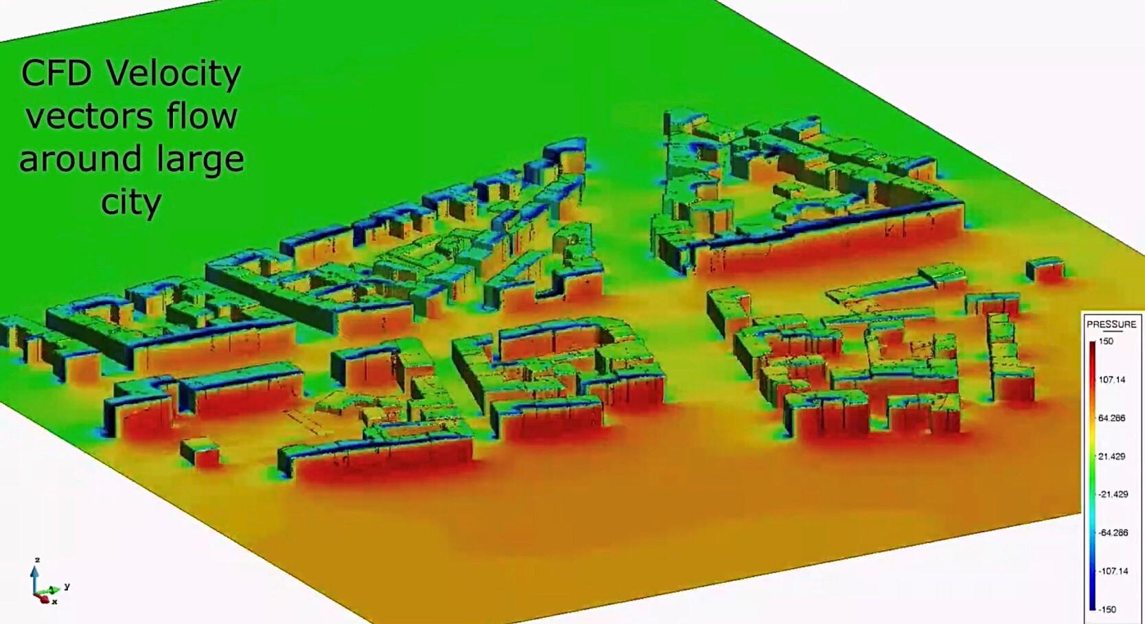 CFD Velocity Vector flow around city