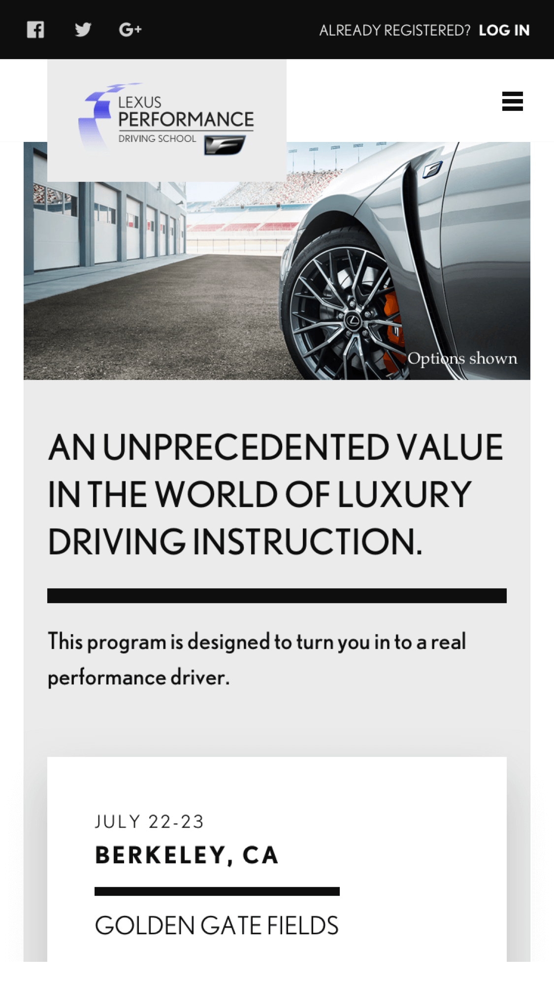 Lexus Performance Driving School Mobile Design