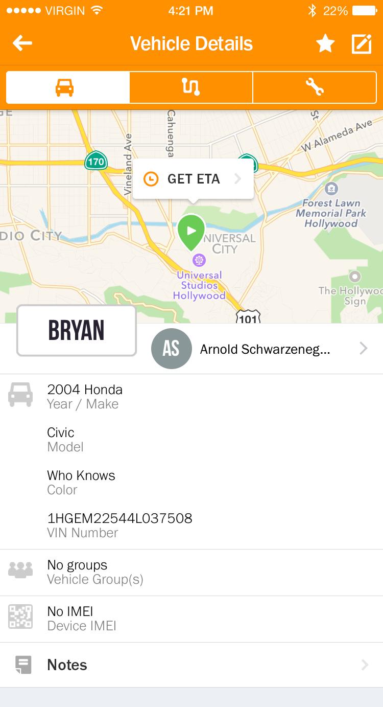 Carmine Mobile App Vehicle Details
