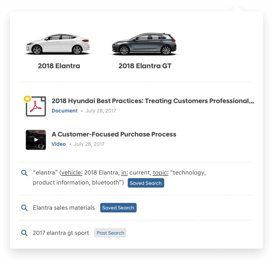 Hyundai Sales Training Search Menu