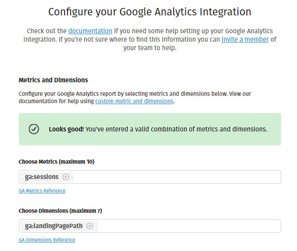 Stich Google Analytics Integration Screen