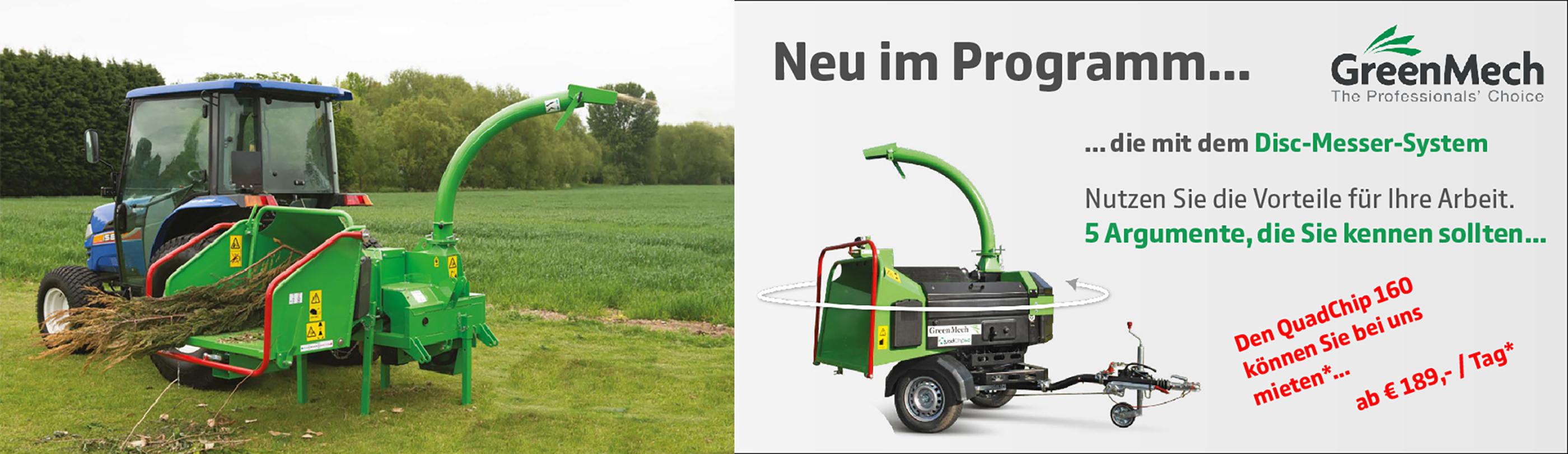 GreenMech Holzhäcksler  Slider Programmübersicht
