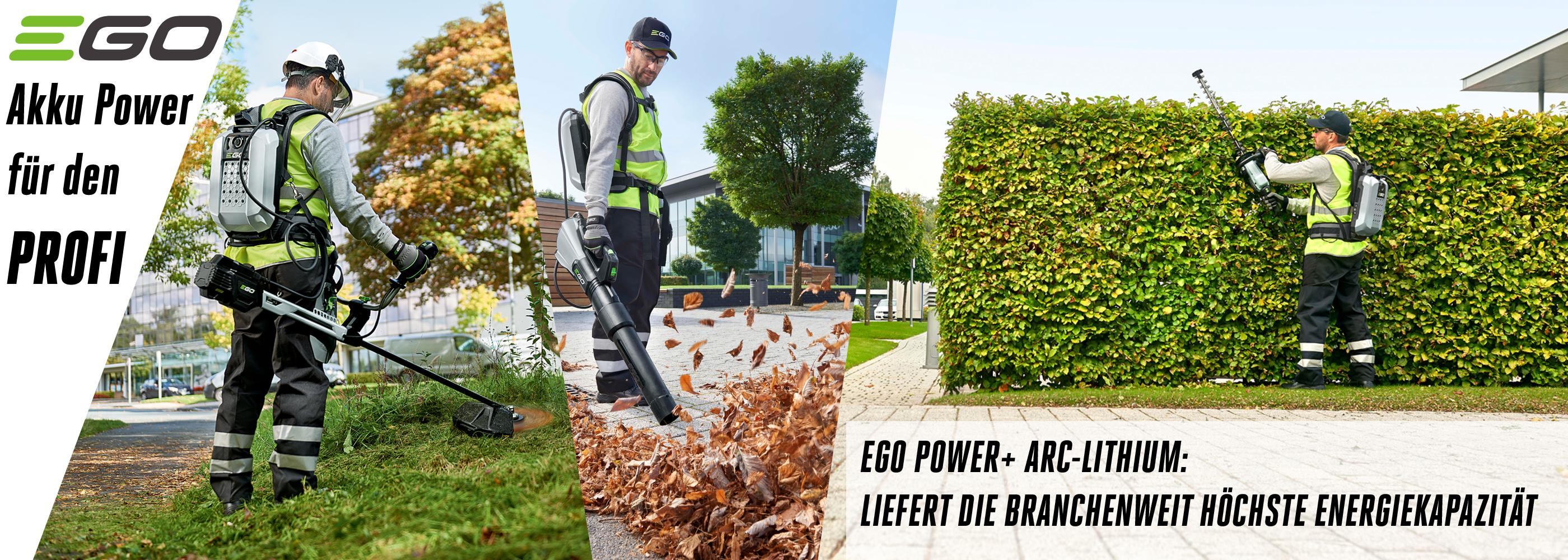 EGO Power Akku Geräte für den Profi Landschaftspfleger, die Kommune und den Hausmeister. Hintergrundfoto