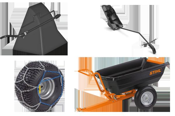 Zubehör für die gefällige Verwendung: z.B. Transportanhänger, Deflektor, Mulchkit, Schneeketten