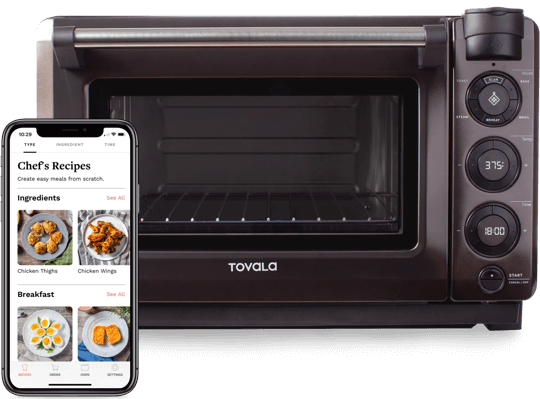 Tovala Oven and Tovala App displaying Chef's Recipes.