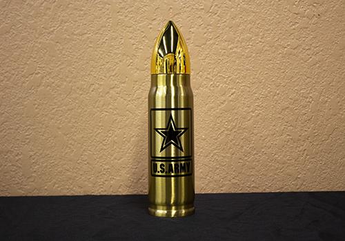 17oz Gold Army Logo Bullet Thermos