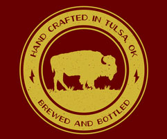 A buffalo icon that says hand crafted in Tulsa, OK. Brewed and Bottled.