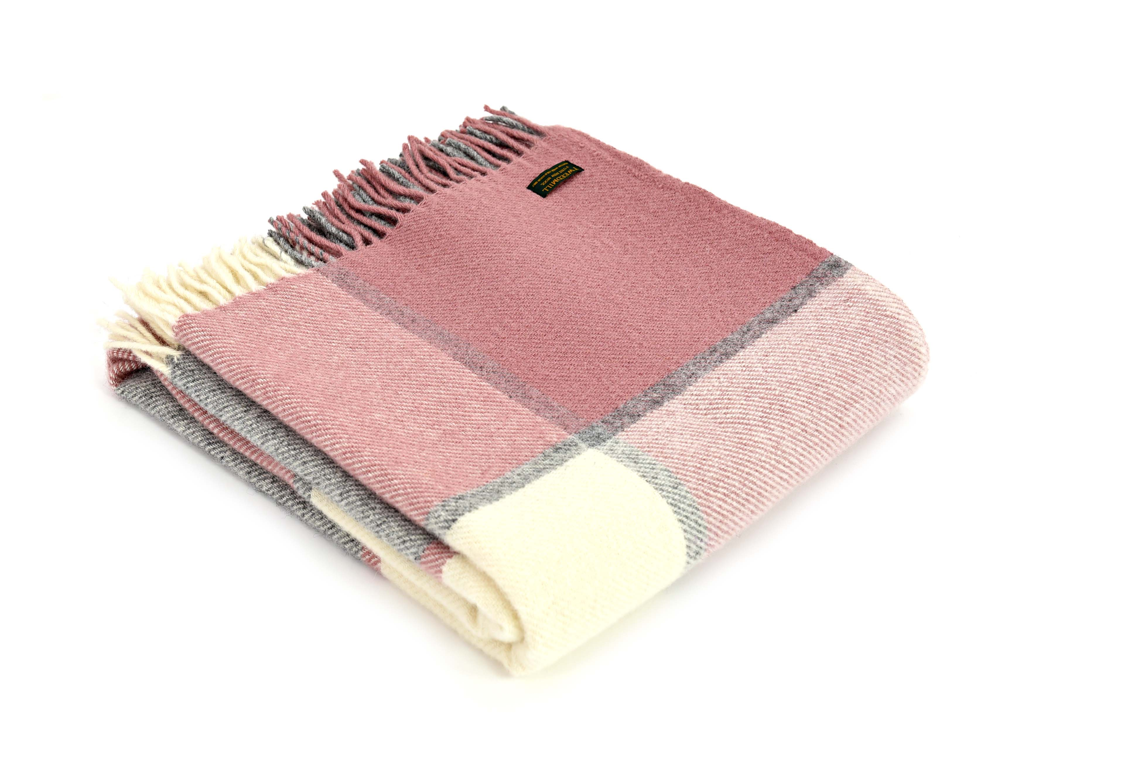 Block Check Charcoal/Dusky Pink Throw
