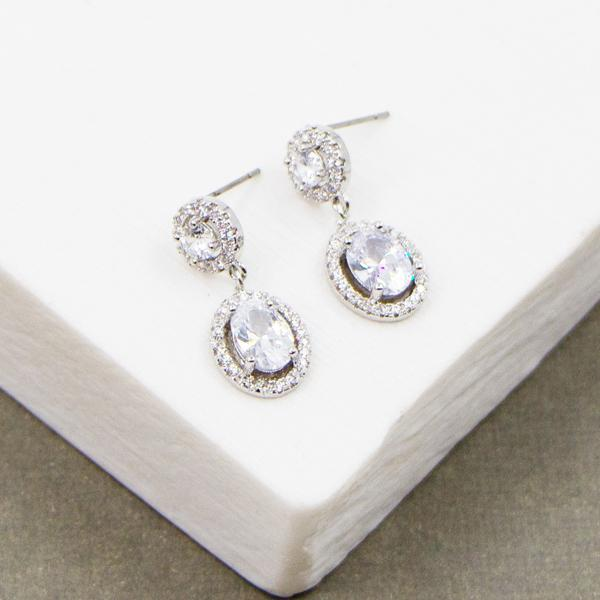 CLASSIC OVAL DROP CZ EARRING WITH CZ SURROUND