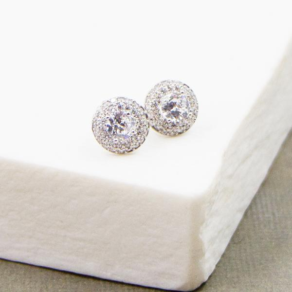 SMALL CZ STUDS WITH ENCRUSTED CZ SETTING