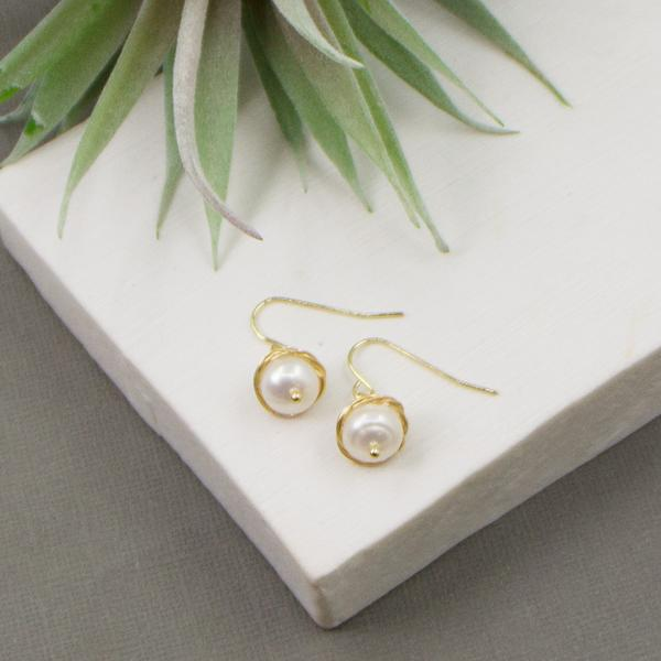 REAL PEARL DROP EARRINGS WITH GOLD SURROUNDING