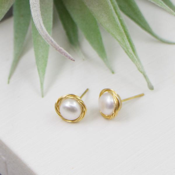 REAL PEARL STUD EARRINGS WITH GOLD SURROUNDING