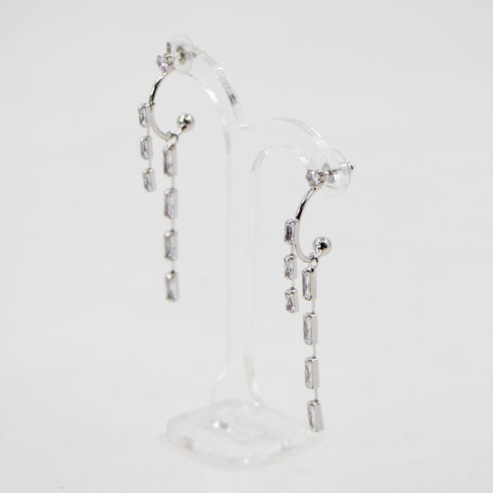 MINI BAGUETTE CRYSTAL DROP EARRINGS WITH 925 SILVER POST