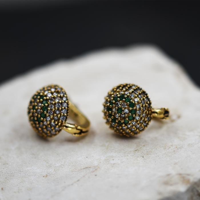 CZ CLUSTERED STUD CIRCLE EARRINGS WITH GREEN STONES