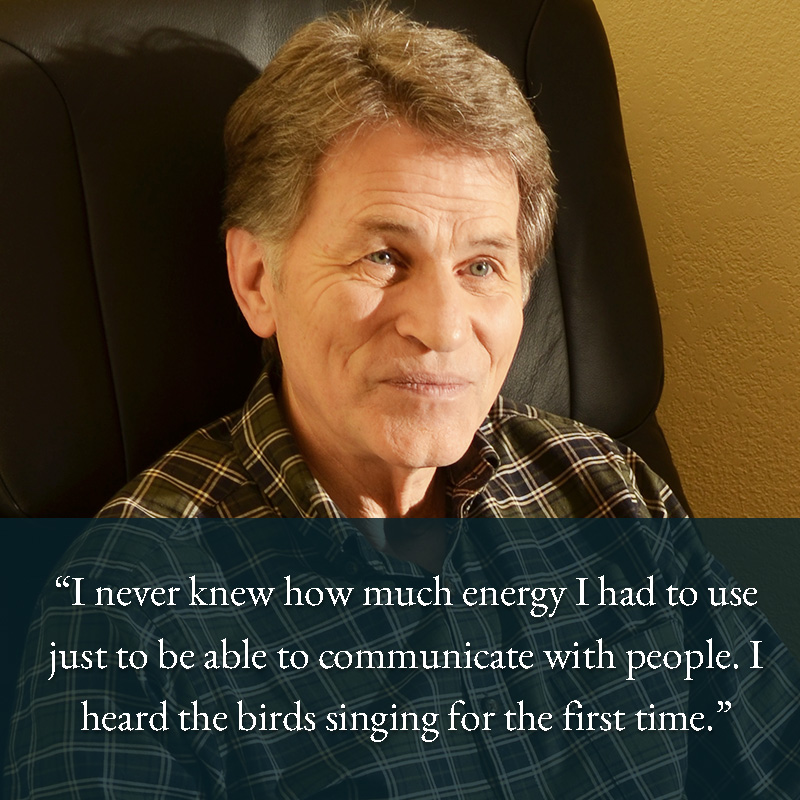 Hearing patient hearing birds sing for the first time.